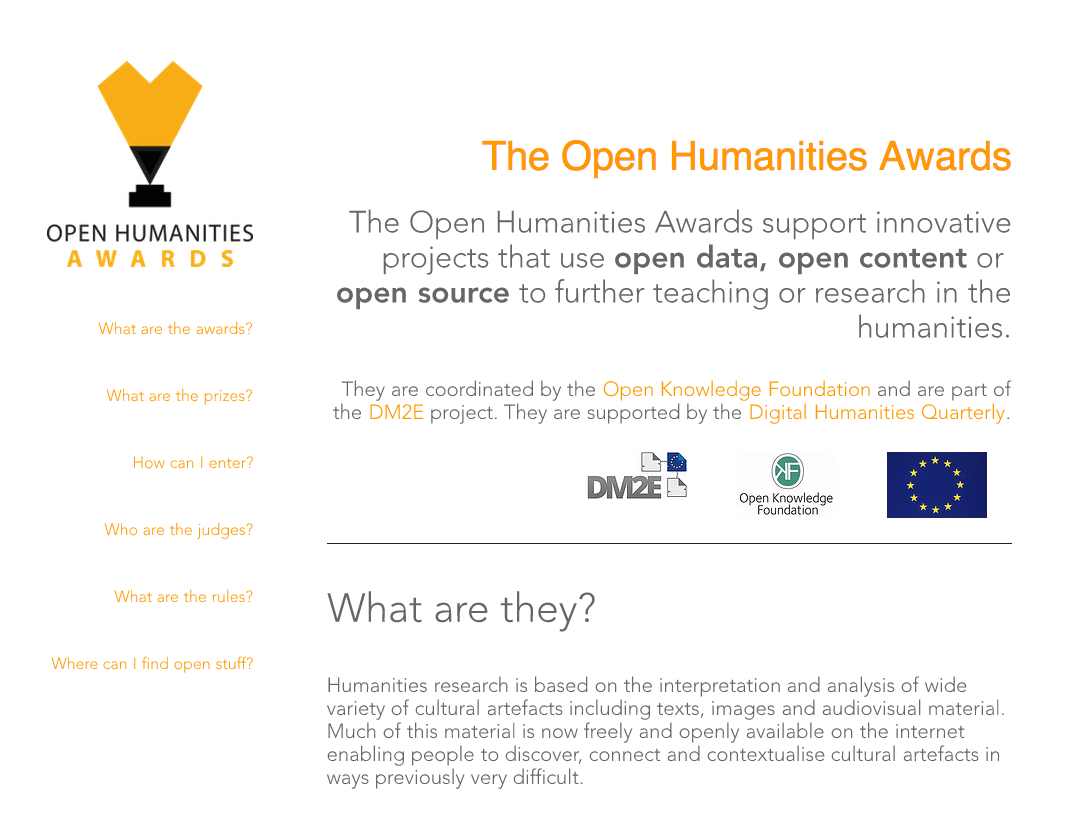 Open Humanities Awards 2013