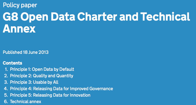 """Open is the new normal"": G8-Mitglieder zeichnen Open Data Charter"