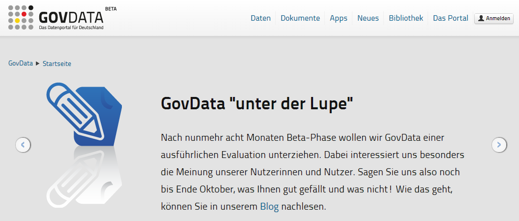 GovData in der Evaluationsphase